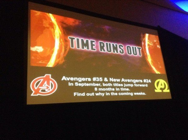 le teaser fait par Marvel auprés des distributeurs de comics pour l'évenement TIMES RUNS OUT