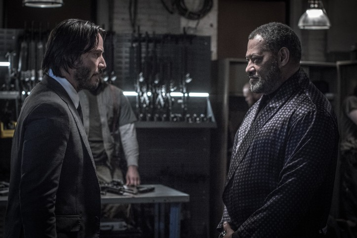 Reconstitution de ligue dissoute John Wick (Keanu Reeves) et Morph..The Bowery King (Lawrence Fishburne)